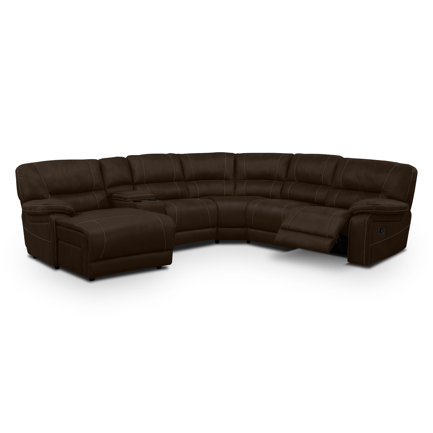 Living Room Furniture - Wyoming Saddle 5 Pc. Reclining Sectional (Reverse)