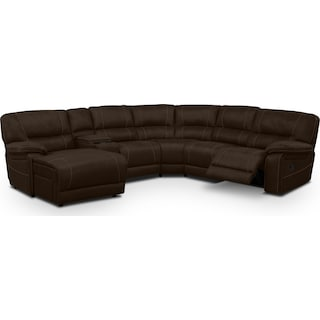 Wyoming 5-Piece Reclining Sectional with Left-Facing Chaise - Saddle Brown