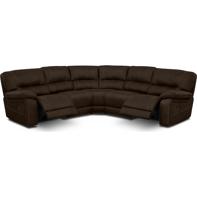 Living Room Furniture - Wyoming 3-Piece Reclining Sectional - Saddle Brown
