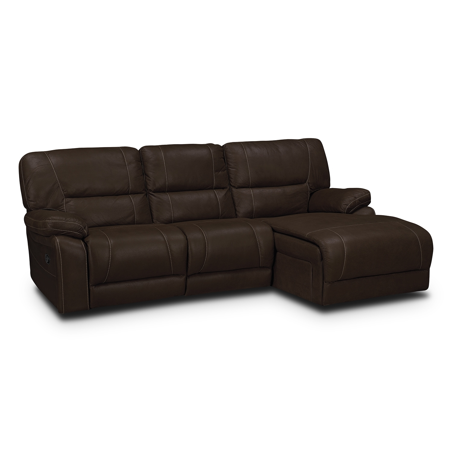 Wyoming 2-Piece Reclining Sectional with Right-Facing Chaise  - Saddle Brown