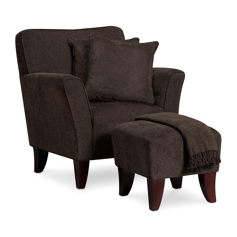 Celeste Chair, Ottoman, Pillows and Throw - Chocolate