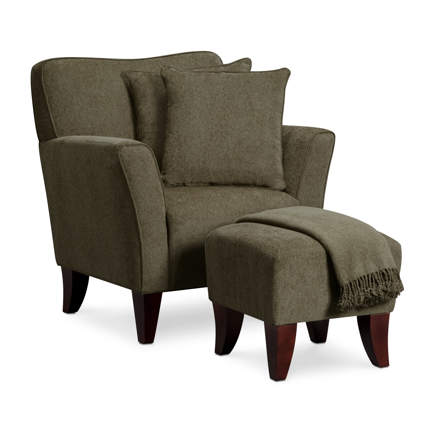 Living Room Furniture - Celeste Chair, Ottoman, Pillows and Throw - Sage