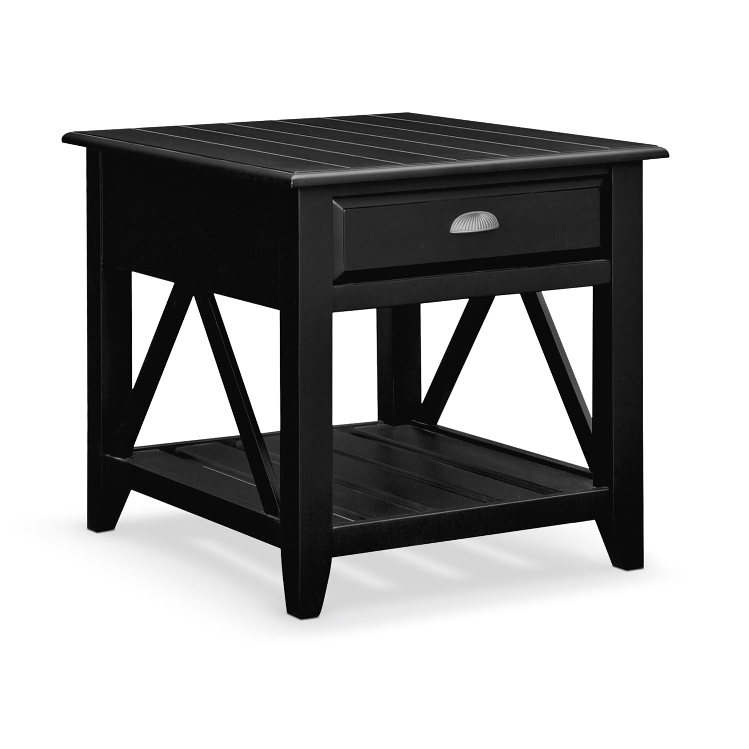 Plantation Cove Coastal End Table - Black