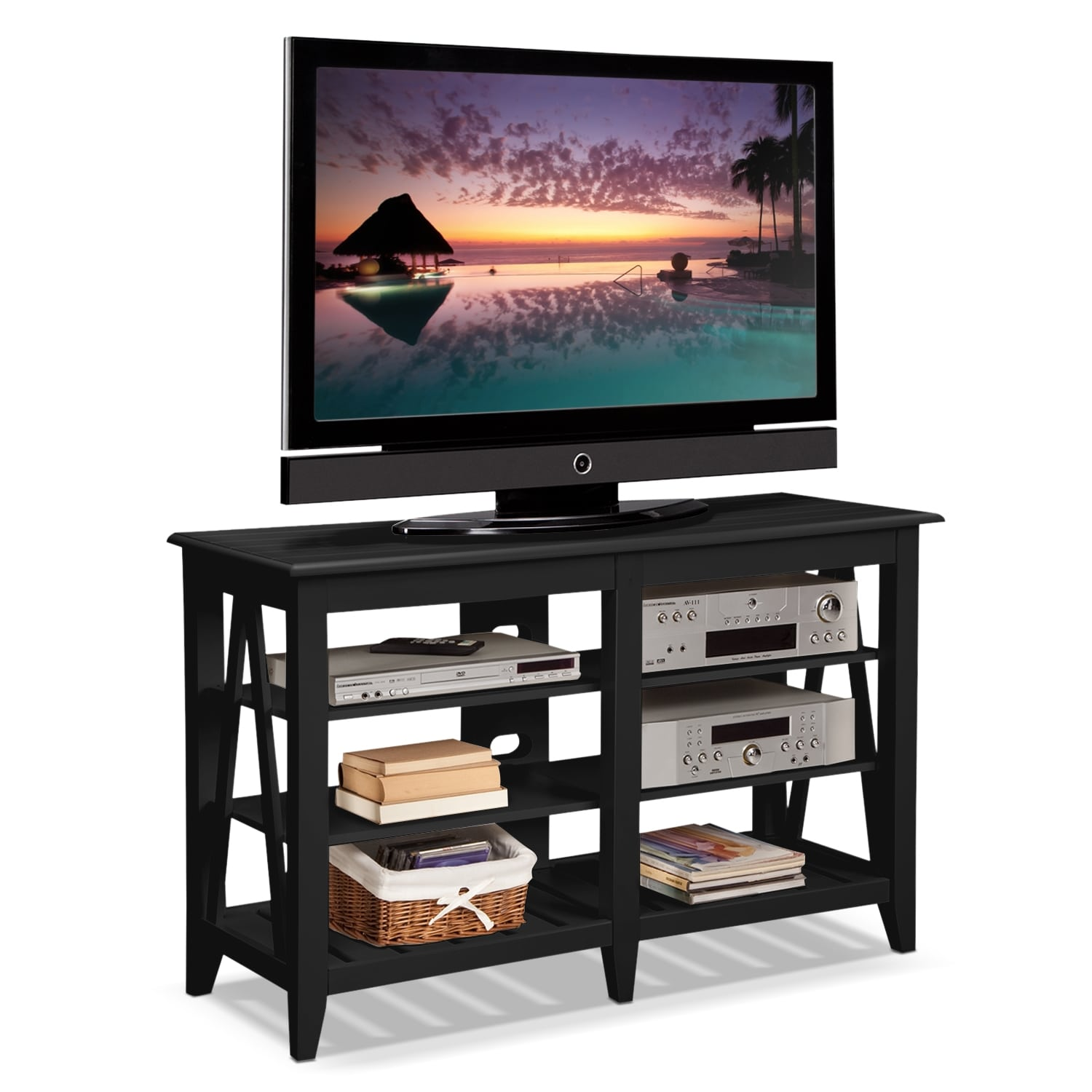 Plantation Cove Coastal TV Stand - Black