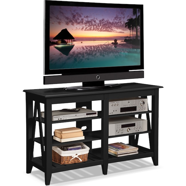 "Entertainment Furniture - Plantation Cove Coastal 48"" TV Stand - Black"