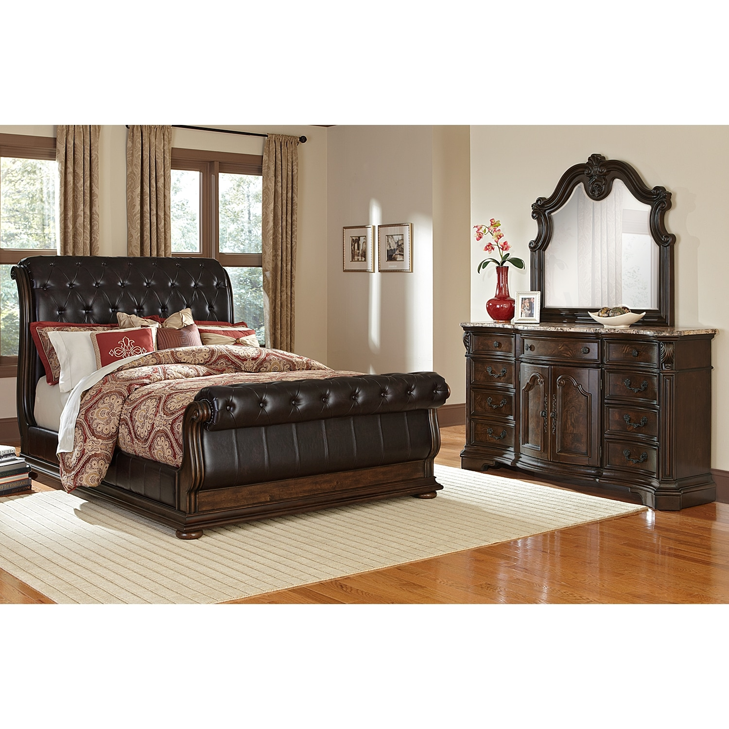 Monticello 5 piece queen sleigh bedroom set pecan for Signature furniture