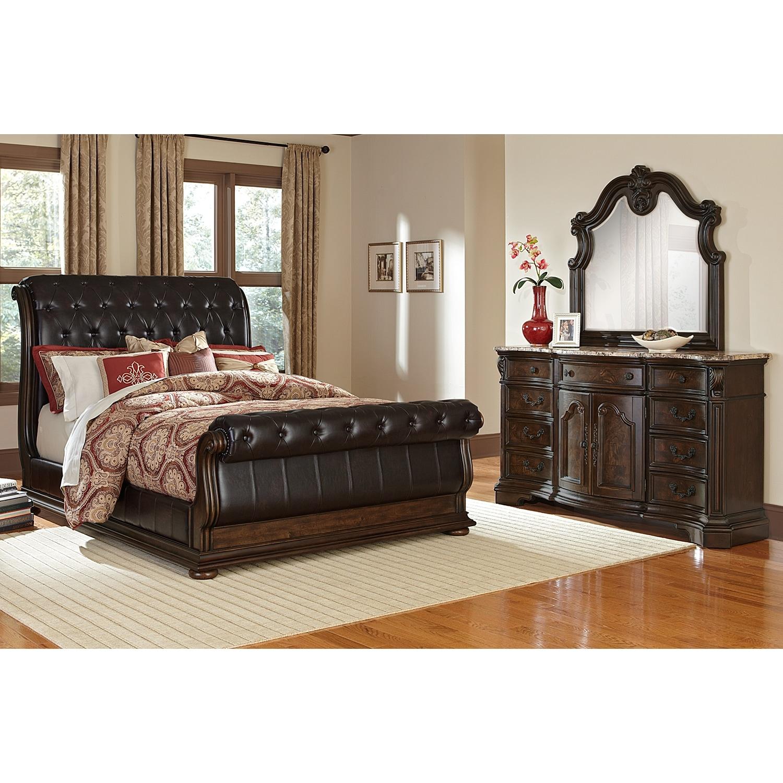 monticello 5piece queen upholstered sleigh bedroom set pecan by pulaski