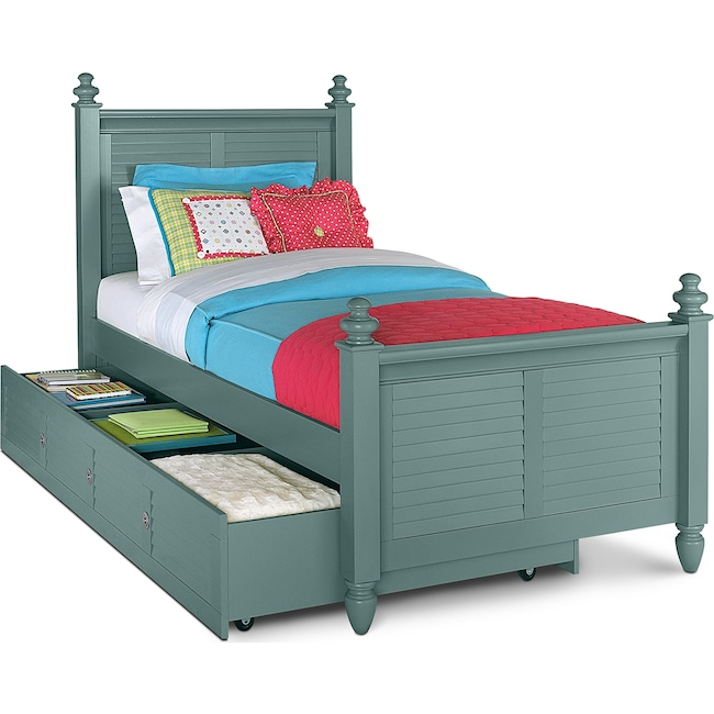 Kids Furniture - Seaside Twin Bed with Trundle - Blue