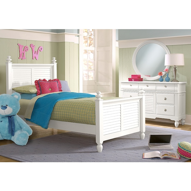 Kids Furniture - Seaside 5-Piece Twin Bedroom Set - White
