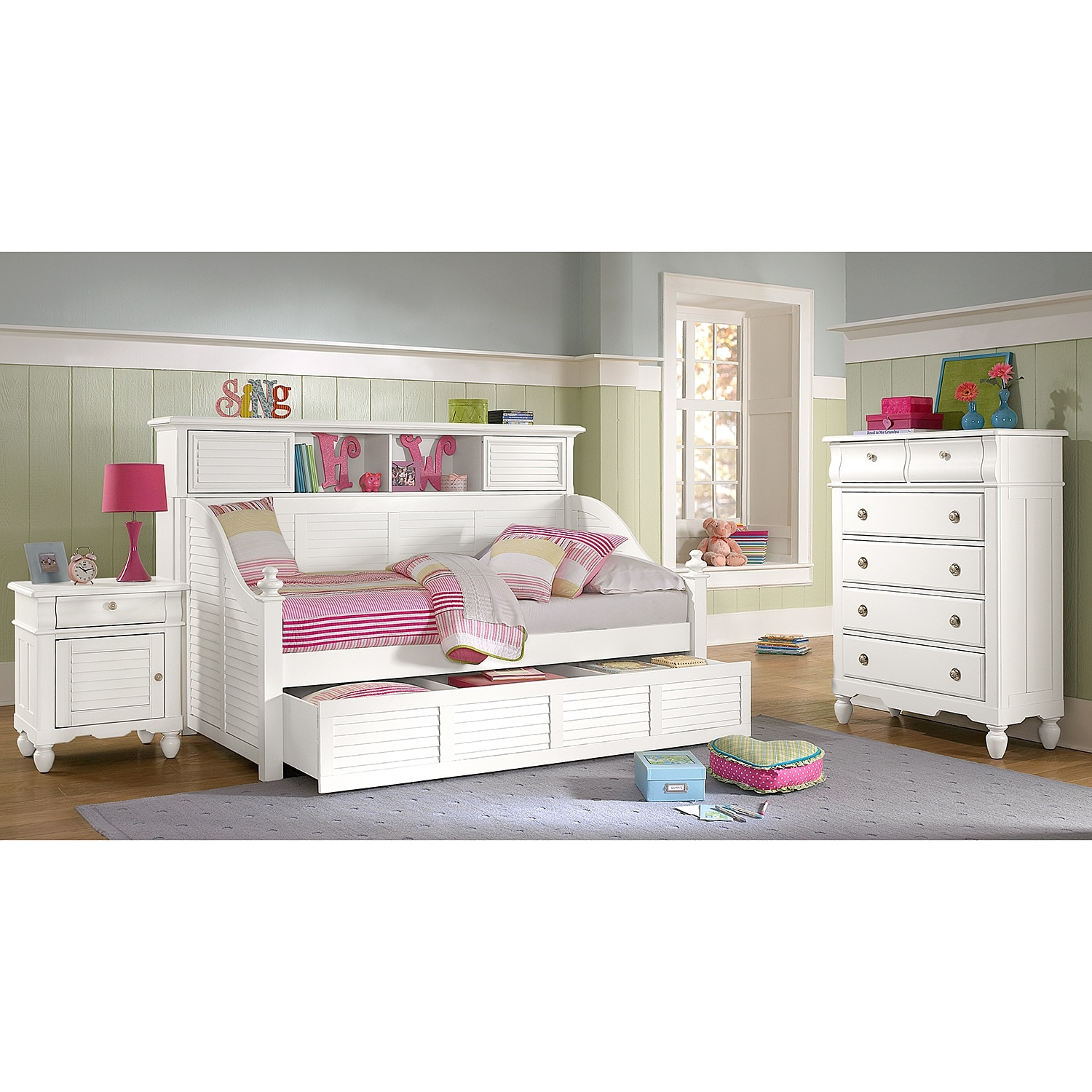 Click to change image. - Seaside Twin Bookcase Daybed With Trundle - White American
