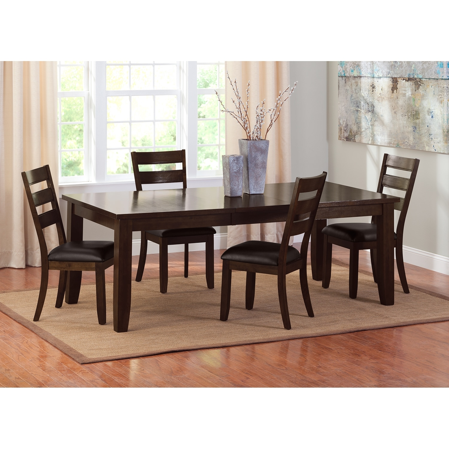 Abaco Table And 4 Chairs Brown American Signature Furniture