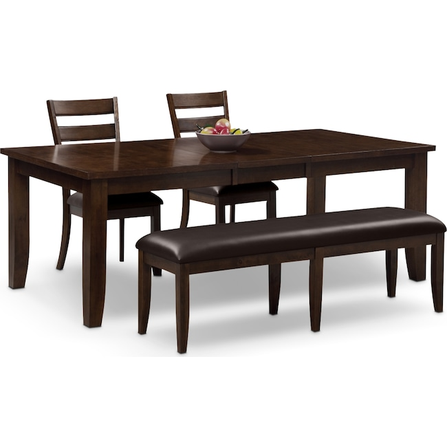 Dining Room Furniture - Abaco Table, 2 Chairs and Bench - Brown