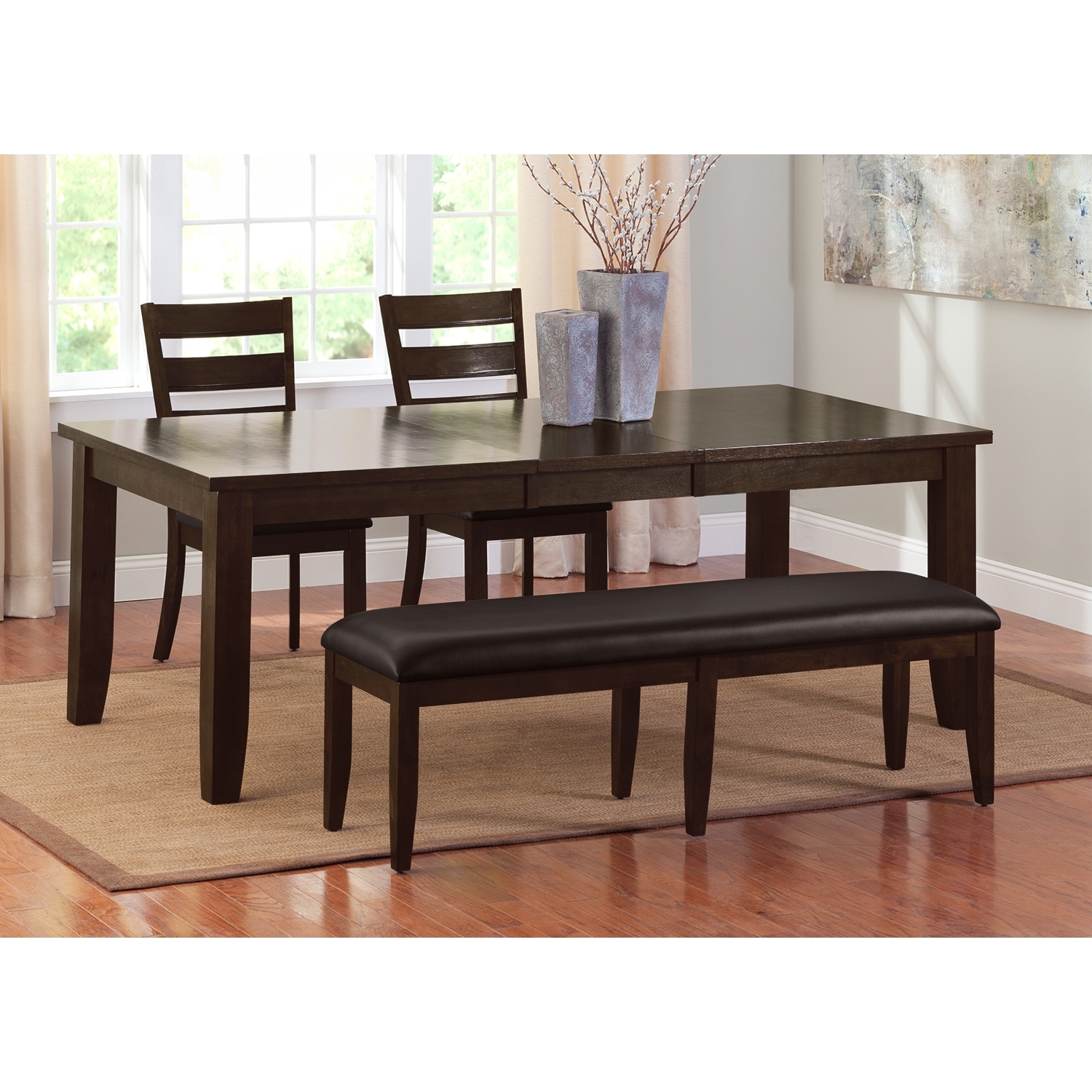 Abaco Table 2 Chairs And Bench Brown American Signature Furniture