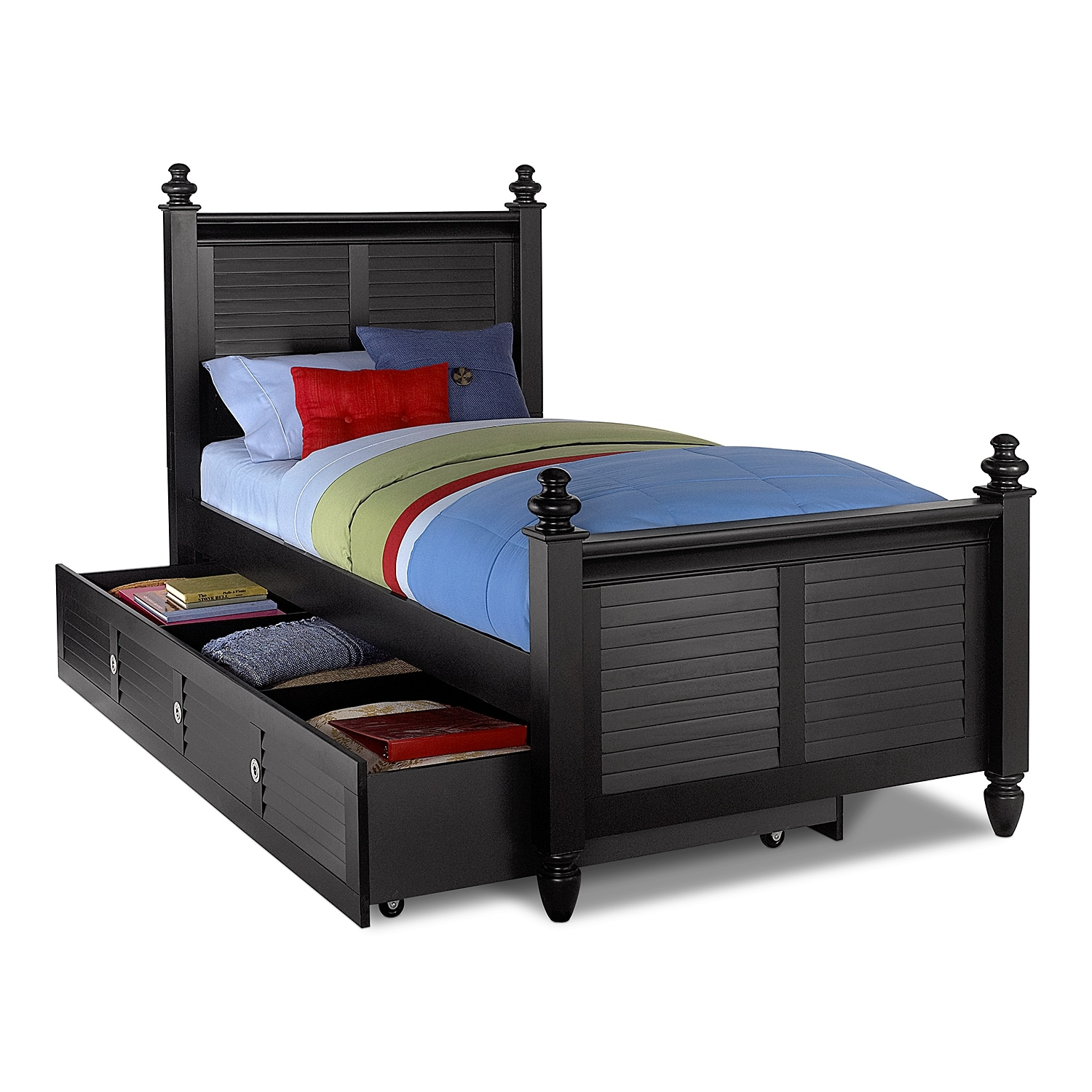 Seaside Black Full Bed with Trundle