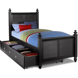 Seaside Twin Bed with Trundle - Black
