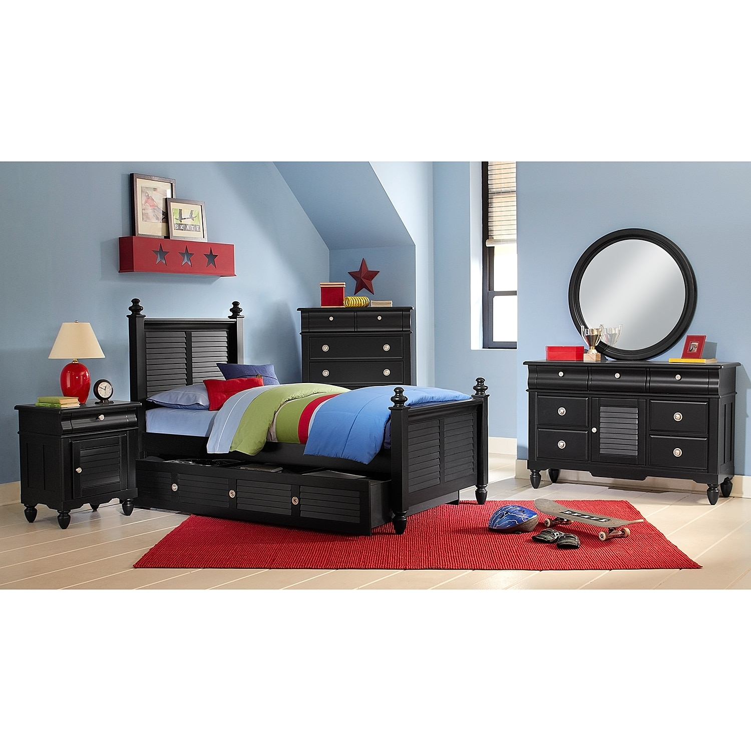 Seaside Black Twin Bed With Trundle American Signature