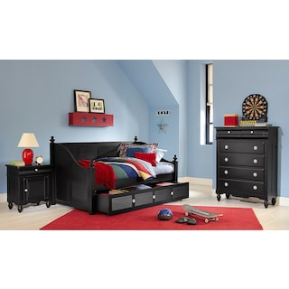 Seaside Daybed with Twin Trundle - Black