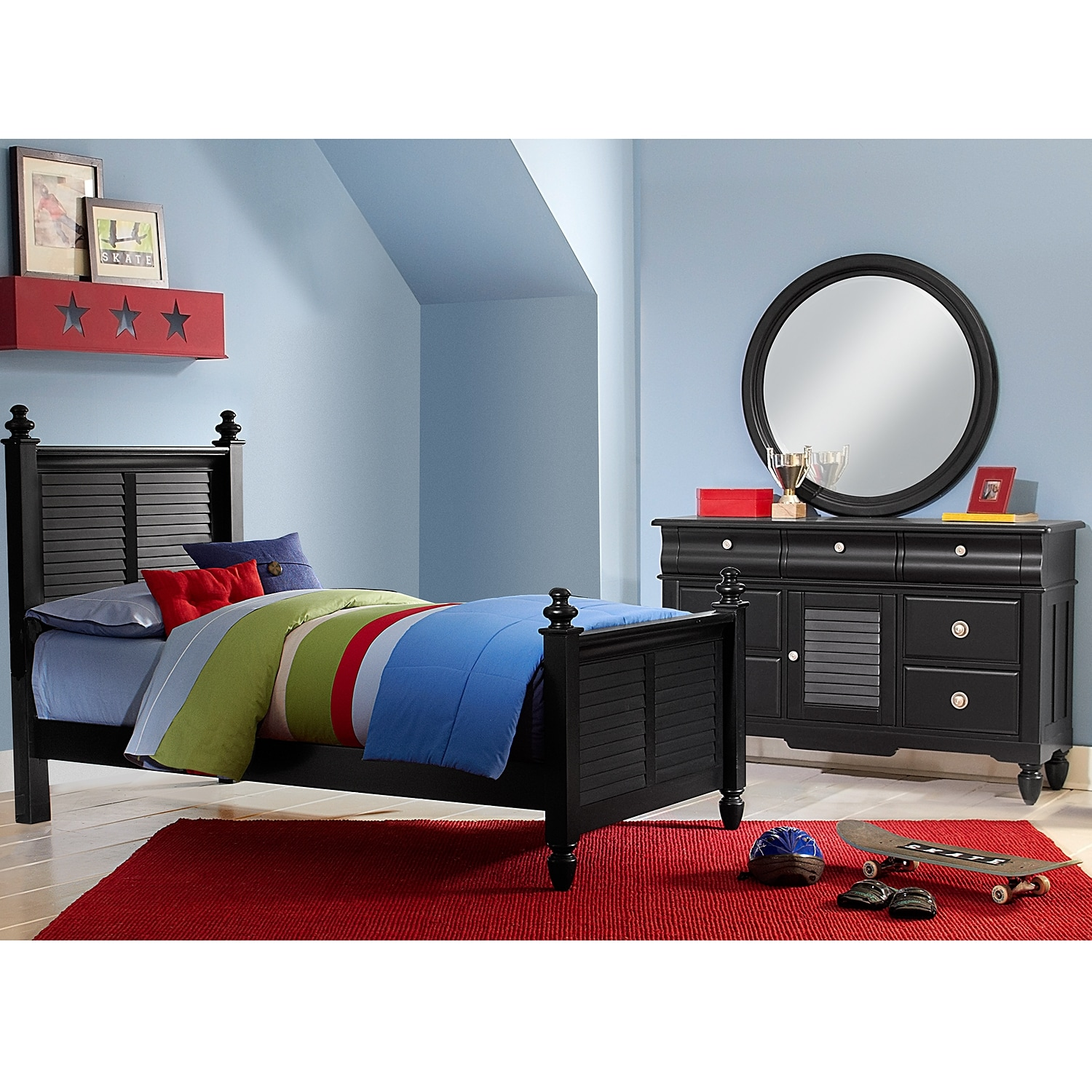 Kids Furniture - Seaside Black 5 Pc. Twin Bedroom