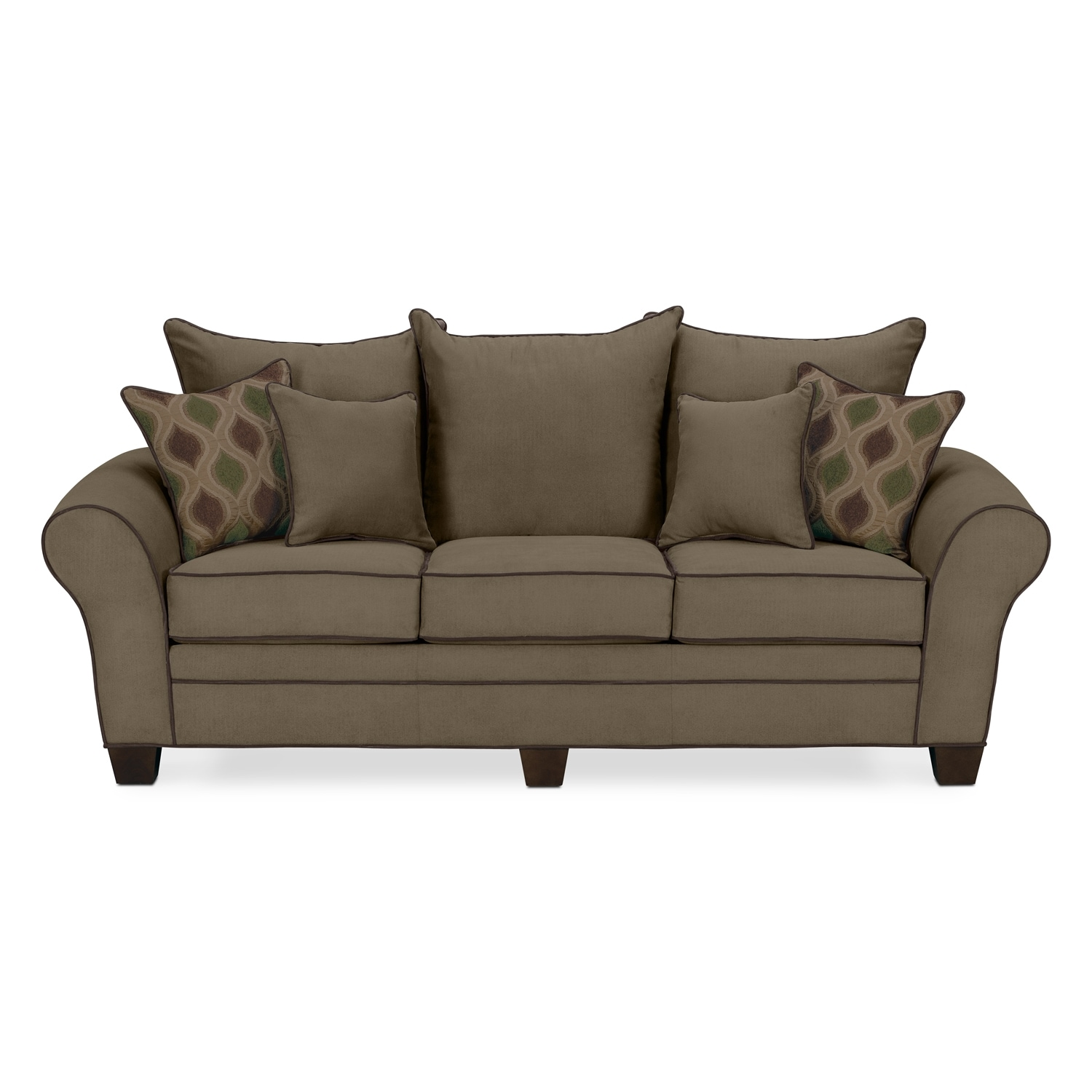 Rendezvous sofa olive american signature furniture for Signature furniture