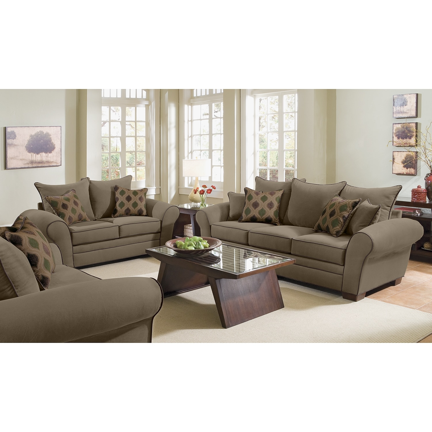 rendezvous sofa and loveseat set olive by kroehler - Kroehler Furniture