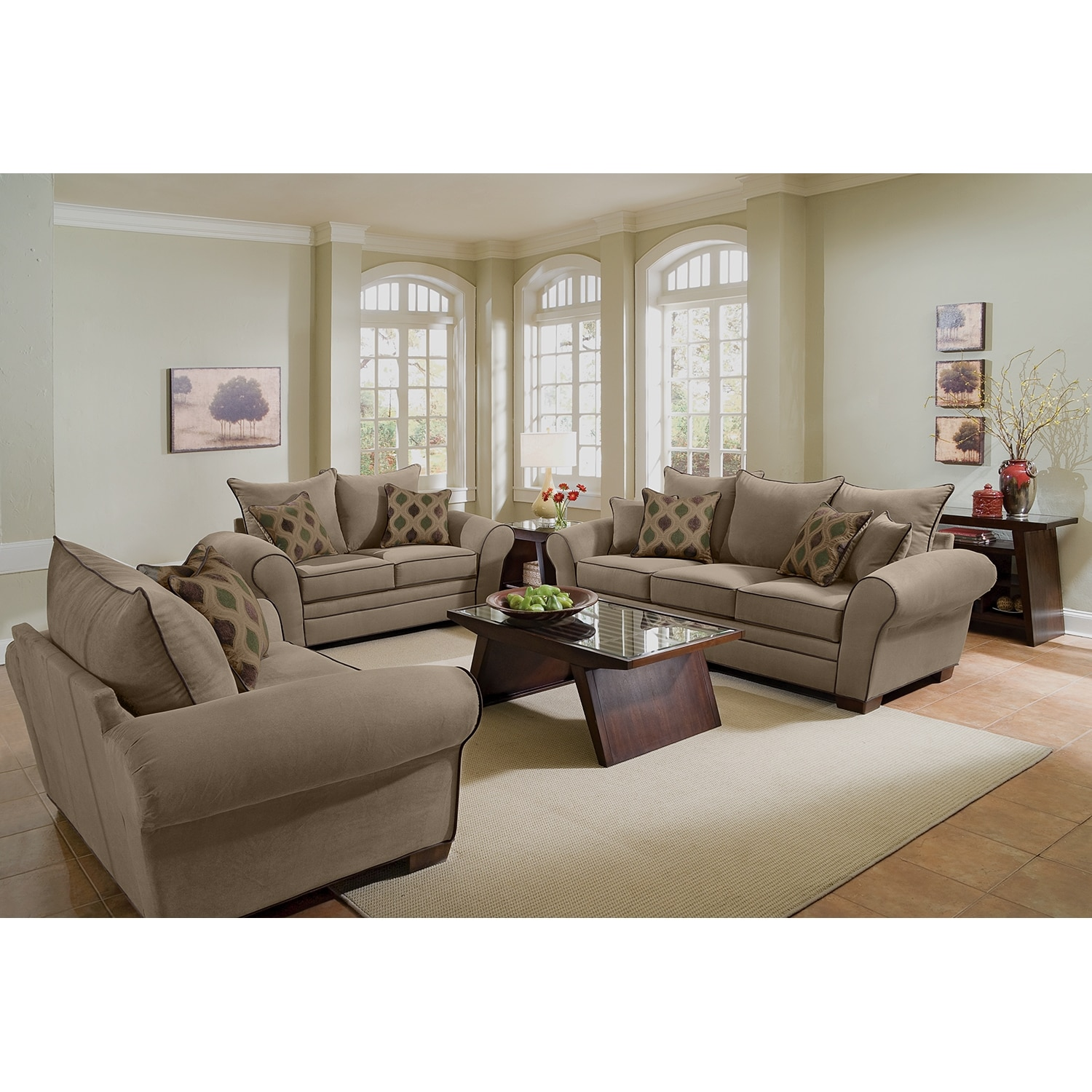 Kroehler Sofa Venti 3 Piece Sectional Red Value City