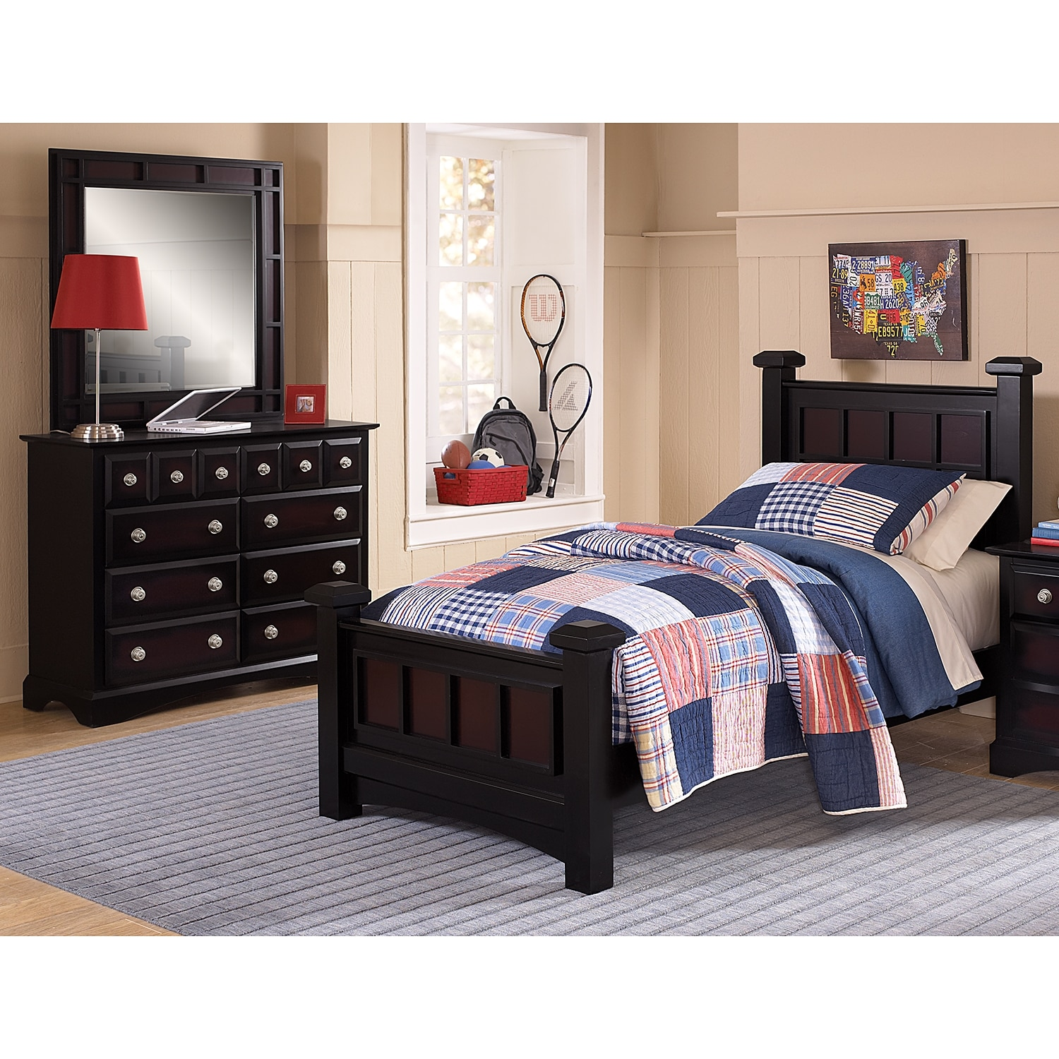 winchester 5 piece twin bedroom set black and burnished merlot american signature furniture. Black Bedroom Furniture Sets. Home Design Ideas
