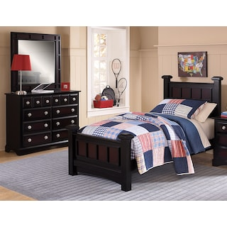 Winchester 5-Piece Full Bedroom Set - Black and Burnished Merlot