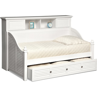 Seaside Twin Bookcase Daybed with Twin Trundle - White