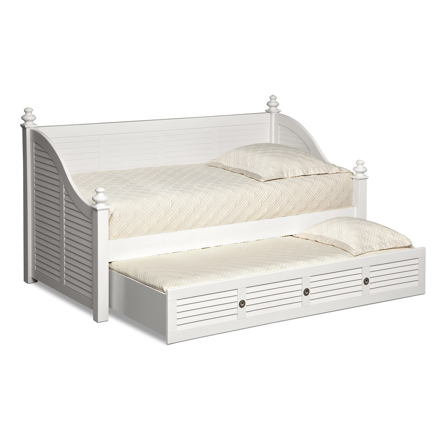 Seaside Twin Daybed With Trundle White American