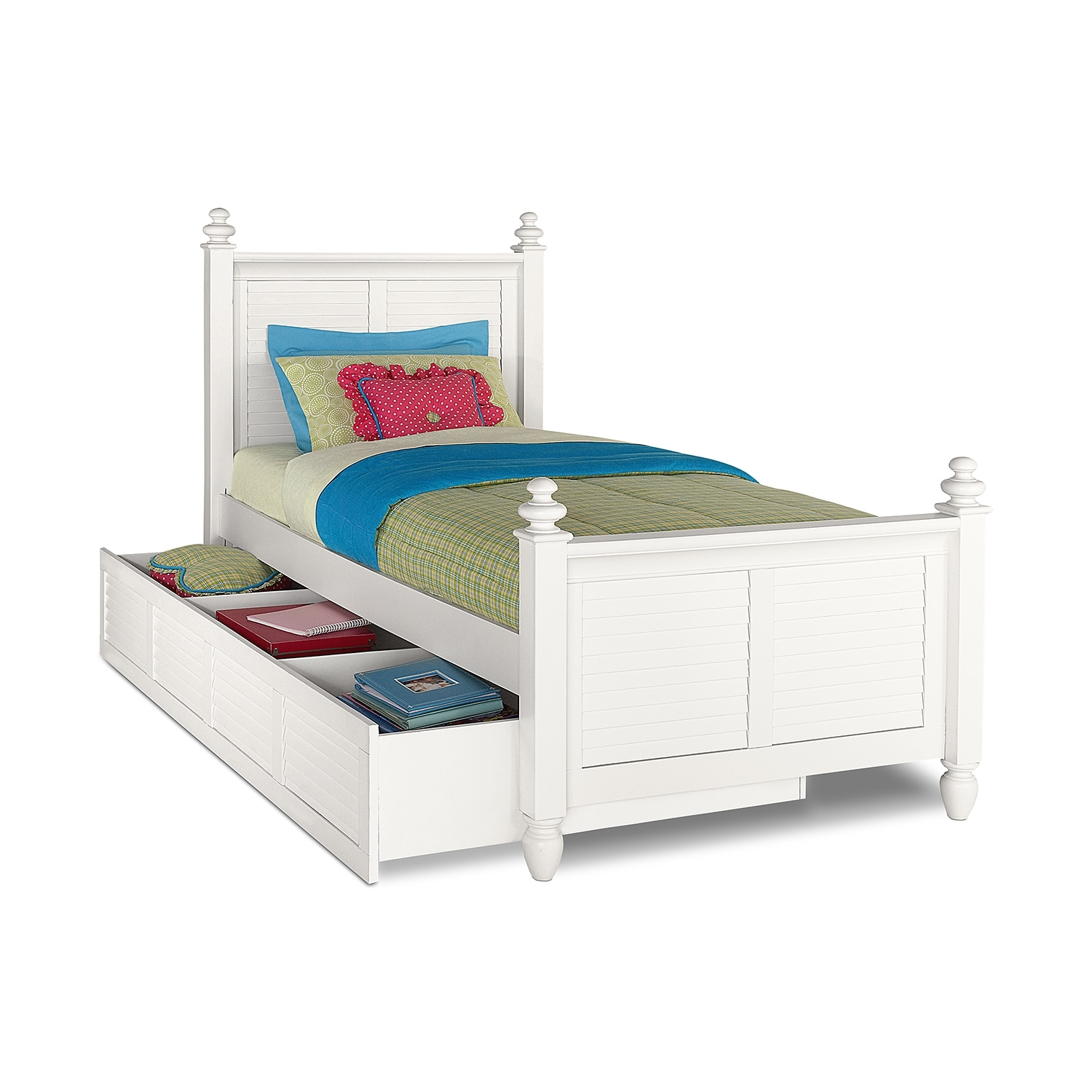 Kids Furniture - Seaside White Twin Bed with Trundle