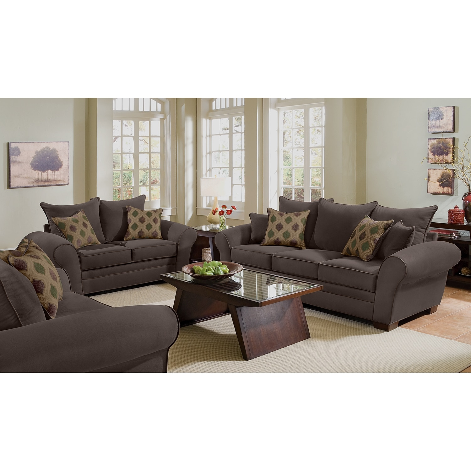Rendezvous sofa and loveseat set chocolate american for Living room furniture packages