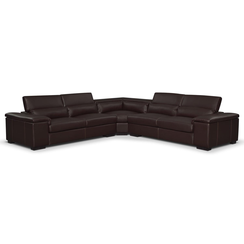 Living Room Furniture - Ventana 3-Piece Sectional - Godiva