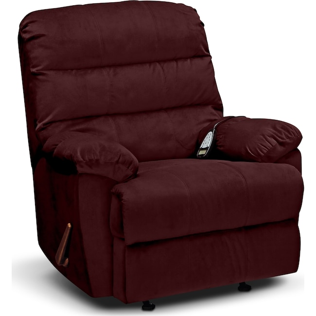 Living Room Furniture - Atlantic Massage Rocker Recliner - Berry