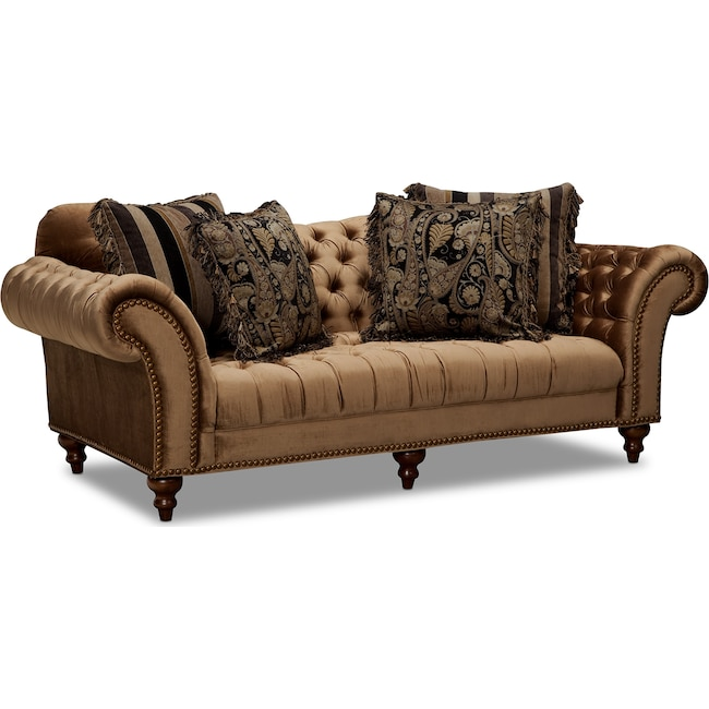 Living Room Furniture - Brittney Sofa - Bronze