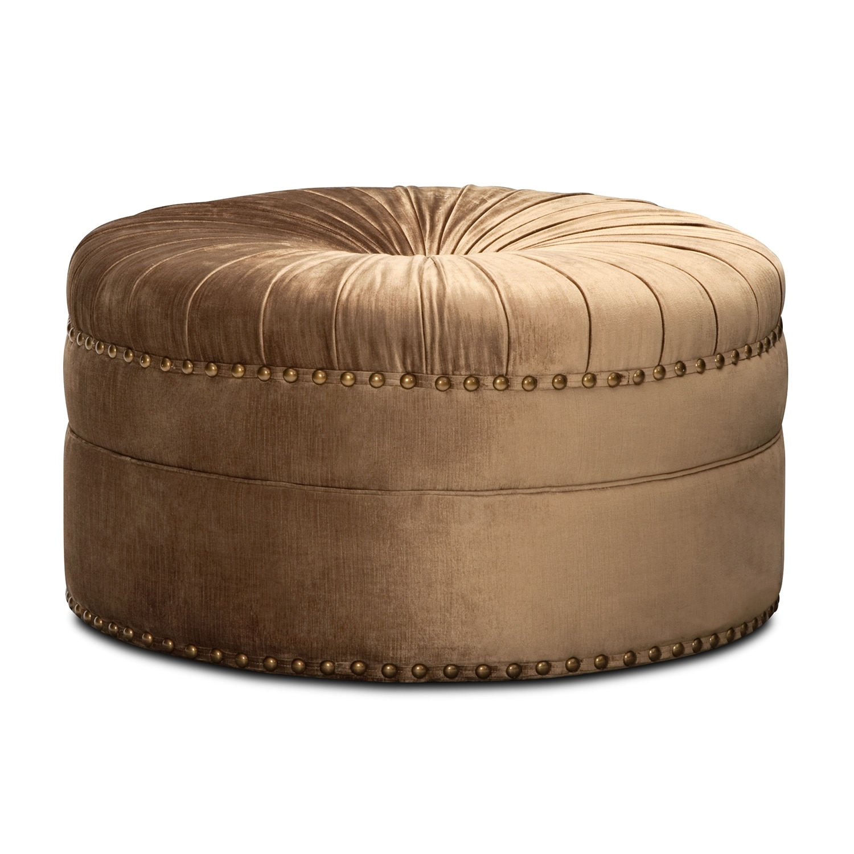 Living Room Furniture - Brittney Cocktail Ottoman - Bronze