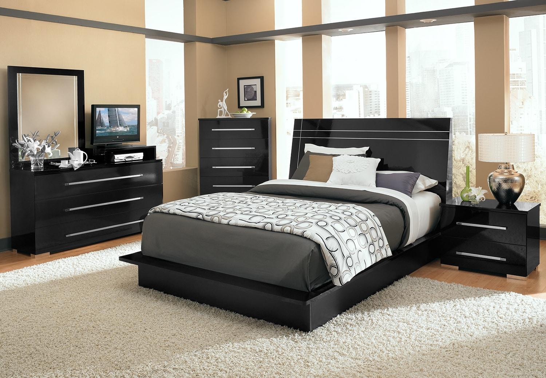 Dimora 7-Piece Queen Panel Bedroom Set with Media Dresser - Black ...