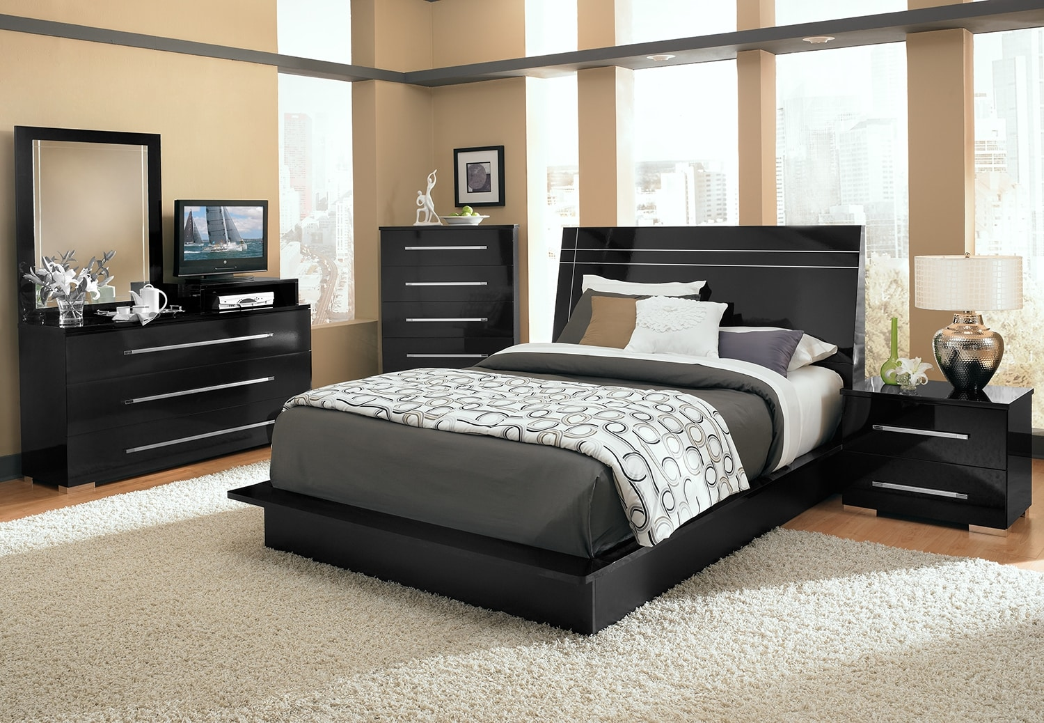 Bedroom Furniture - Dimora 7-Piece King Panel Bedroom with Media Dresser - Black