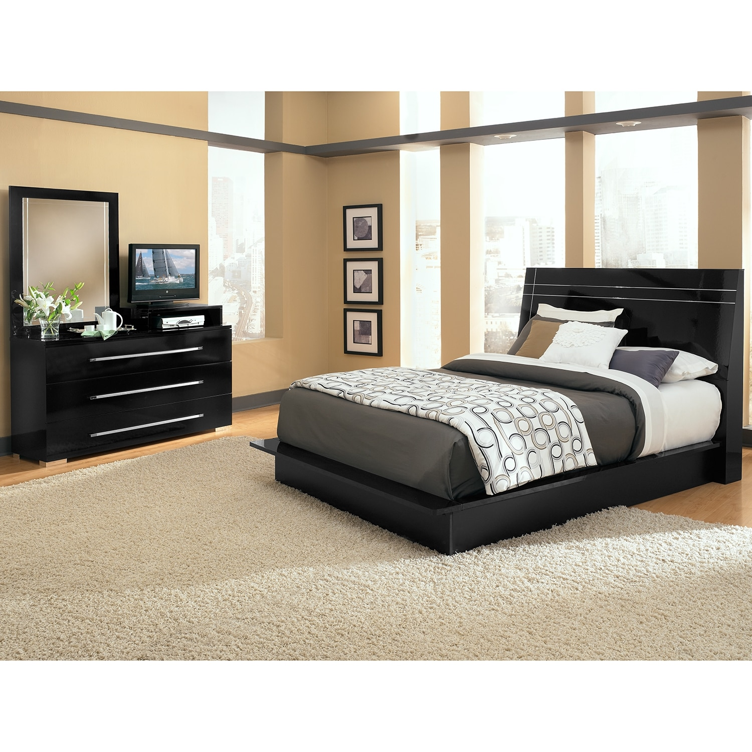 Dimora 5-Piece Queen Panel Bedroom Set with Media Dresser - Black