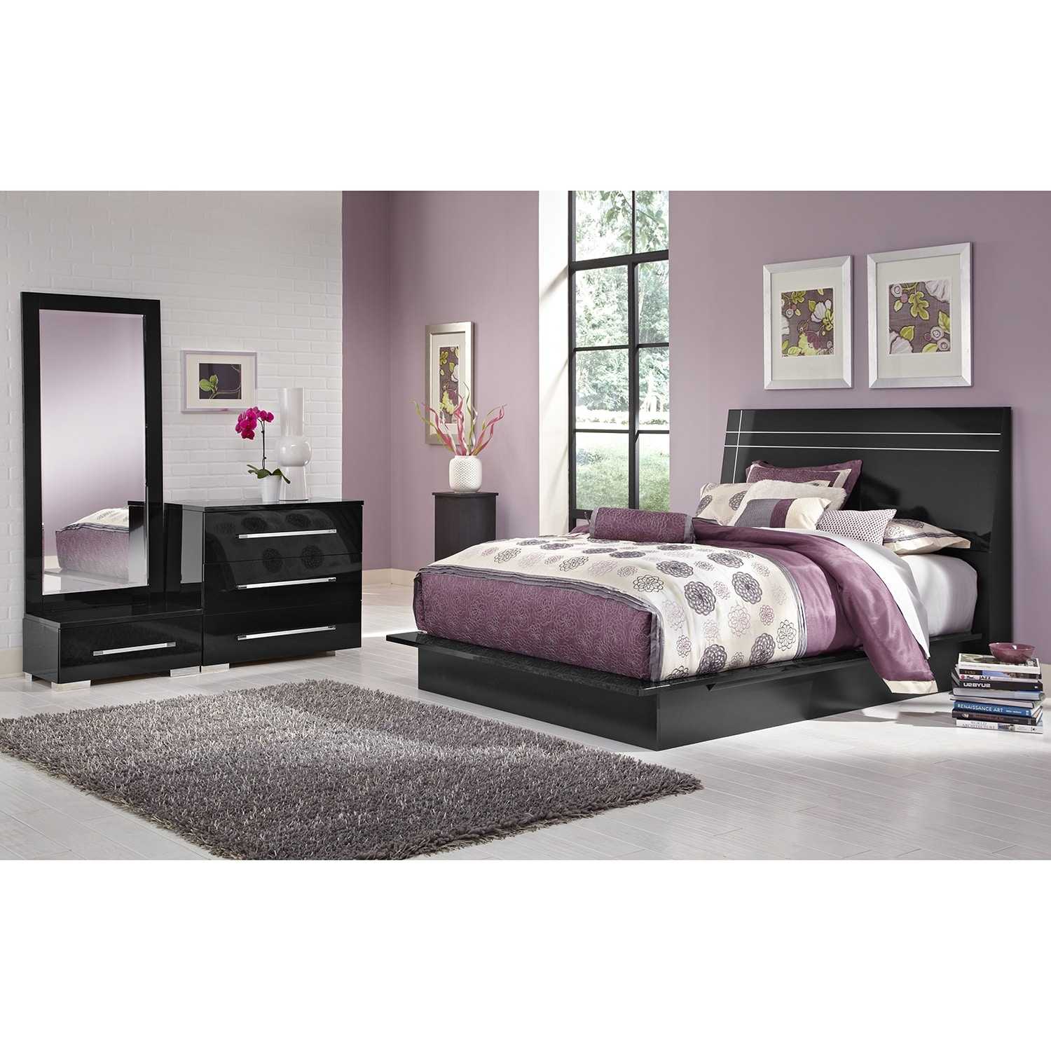 Bedroom Furniture - Dimora 5-Piece King Panel Bedroom Set - Black