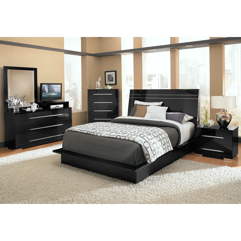 Dimora King Panel Bed - Black | American Signature Furniture
