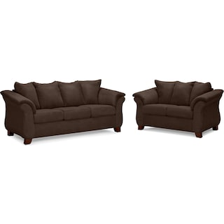 Adrian Sofa and Loveseat Set - Chocolate
