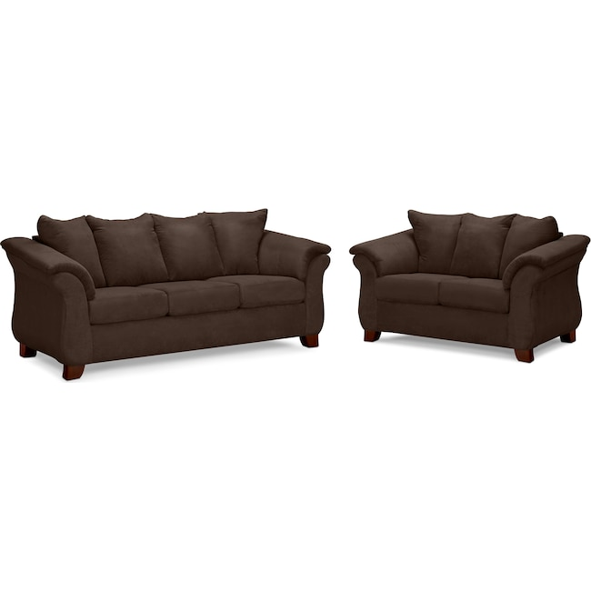 Living Room Furniture - Adrian Sofa and Loveseat Set - Chocolate