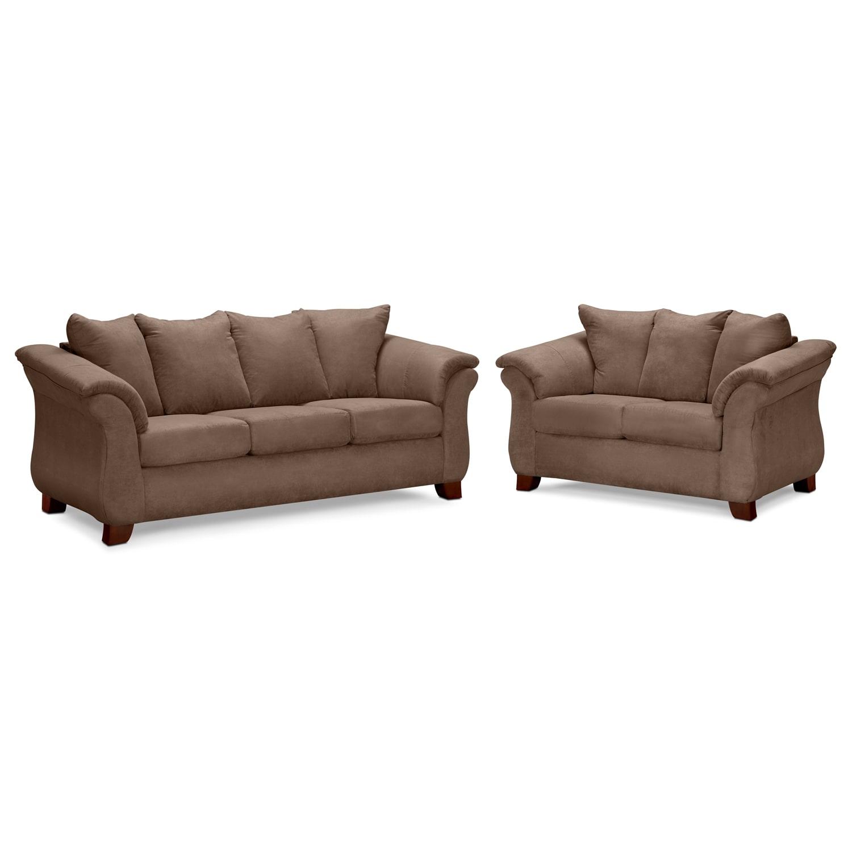 Adrian Sofa And Loveseat Set Taupe American Signature Furniture