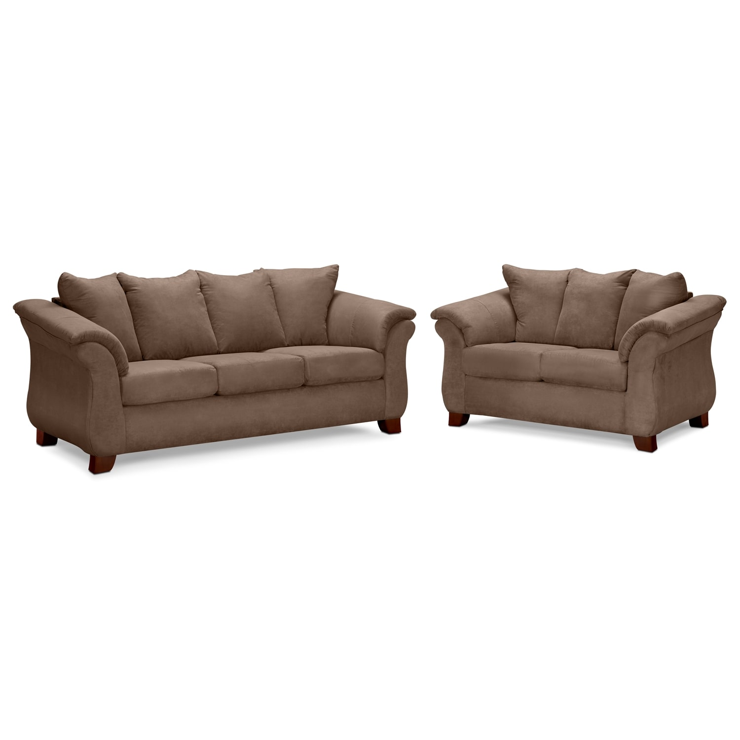 Adrian Sofa and Loveseat Set - Taupe