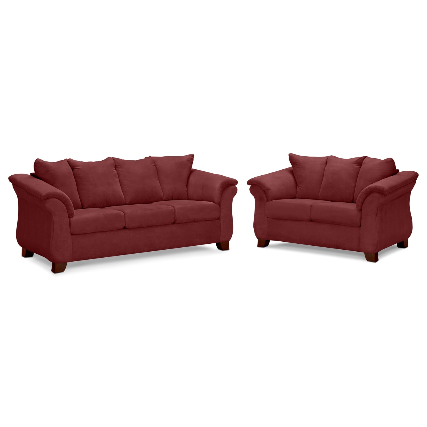 Adrian sofa and loveseat set red american signature for Signature furniture