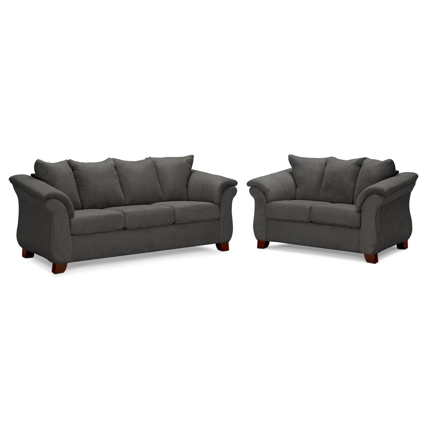 Living Room Furniture - Adrian Graphite 2 Pc. Living Room