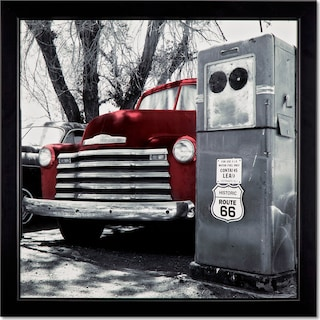 Vintage Red Truck Framed Print