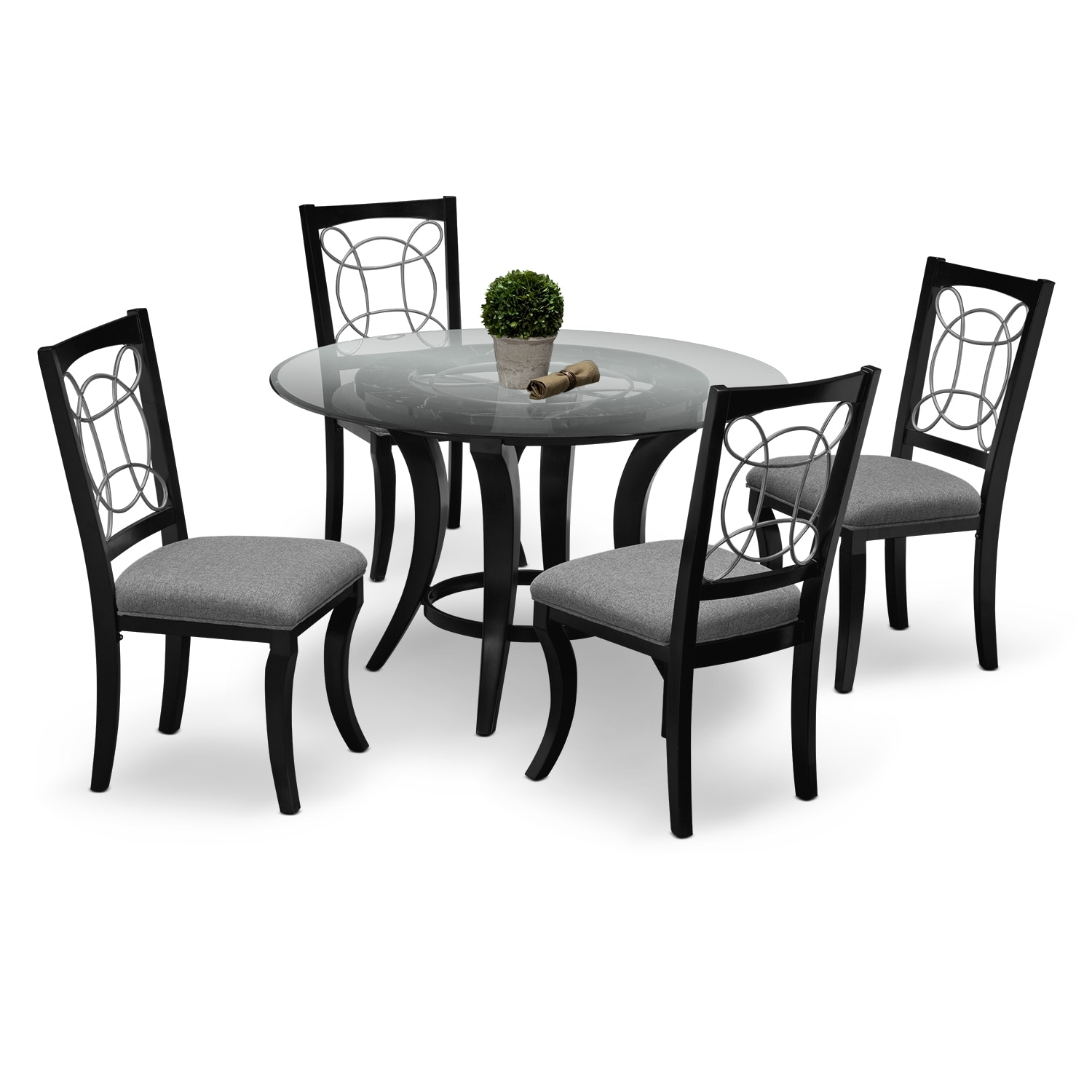 Pandora Table and 4 Chairs - Black