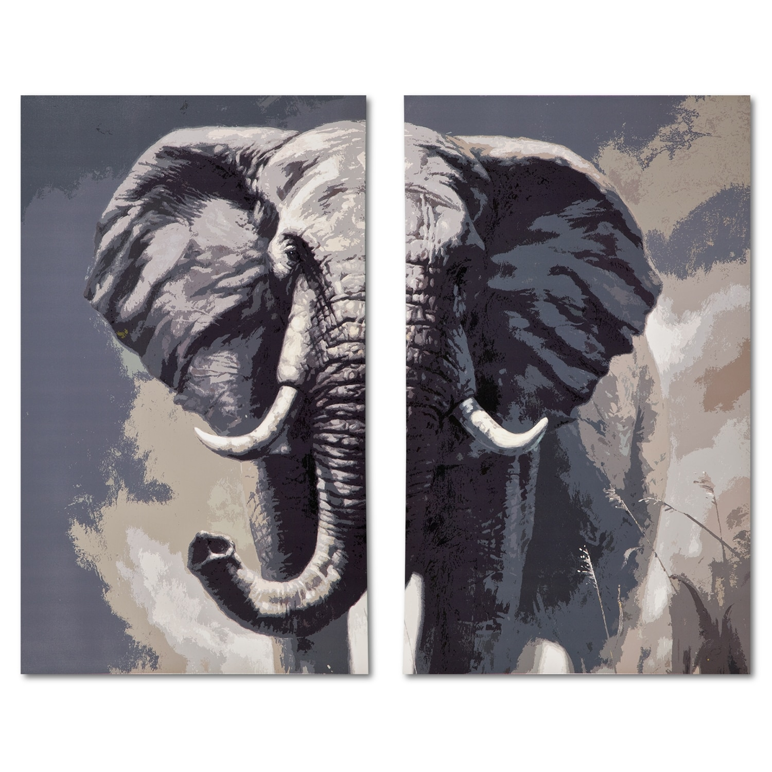 Elephant 2 Pc. Canvas Print