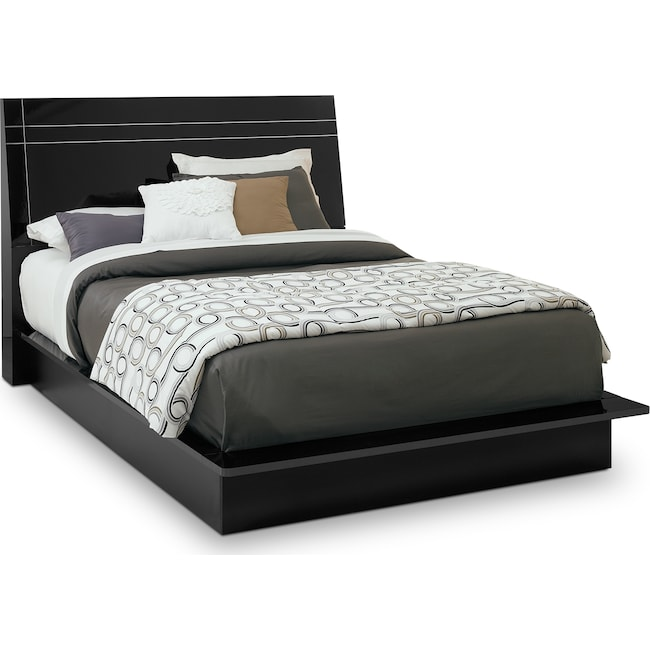 Bedroom Furniture - Dimora Queen Panel Bed - Black
